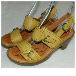 BORN Chunky Slingback SANDALS Yellow LEATHER 9